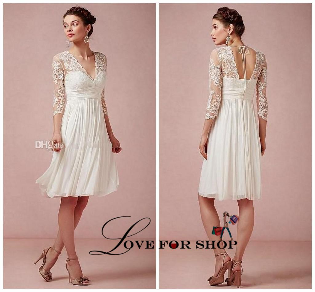 Beach short wedding dresses long sleeves sheer seethrough elegant beach short wedding dresses long sleeves sheer seethrough elegant chiffon bridal gowns laceappliques cheap sexy informal new wh1118 sequin wedding dress junglespirit Images