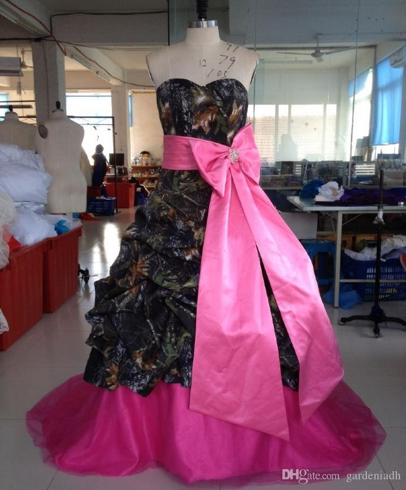 Camo Wedding Dress Ball Gown Sweetheart With Bow Sash Floor Length ...