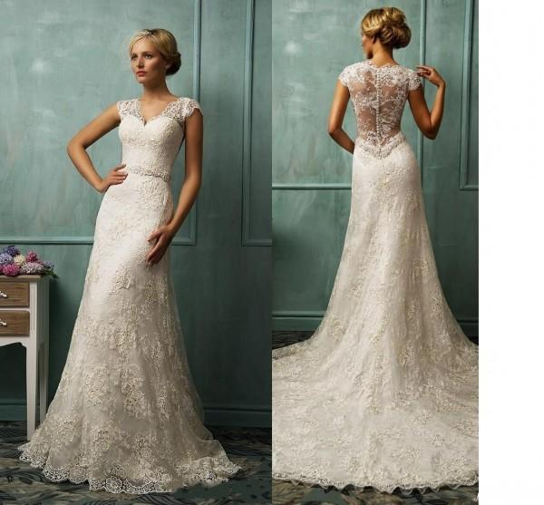 2015 Lastest Fall Wedding Dresses Real Images Inspired By Amelia Sposa Sheer V Neck Cap Sleeve Beaded Court Train Lace Bridal Gowns