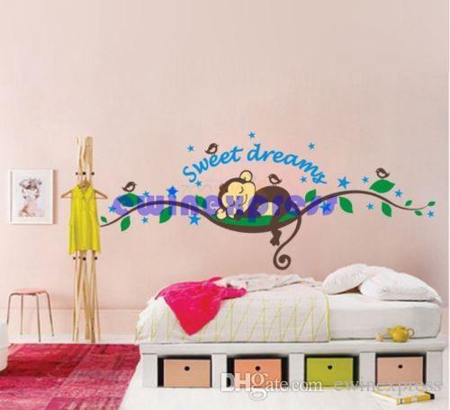 Parede da árvore mural adesivos decalque para crianças decoração de casa Macaco sonho doce removível Do Berçário Do Bebê Paredes decalques de arte adesivos papel de parede