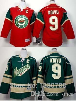 online store 902a1 2d693 2016 New, Minnesota Wild #9 Mikko Koivu Youth Jersey Red Home Green  Alternate Top Quality MN Wild Kids Ice Hockey Jerseys Cheap Wholes
