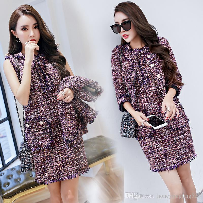 New Korean Fashion Women S Lurex Shinny Tweed Woolen Long Sleeve Short Coat  And Tank Dress Suit OL Autumn Dress Suit SML UK 2019 From Honeytingting521 65f7b1a20f