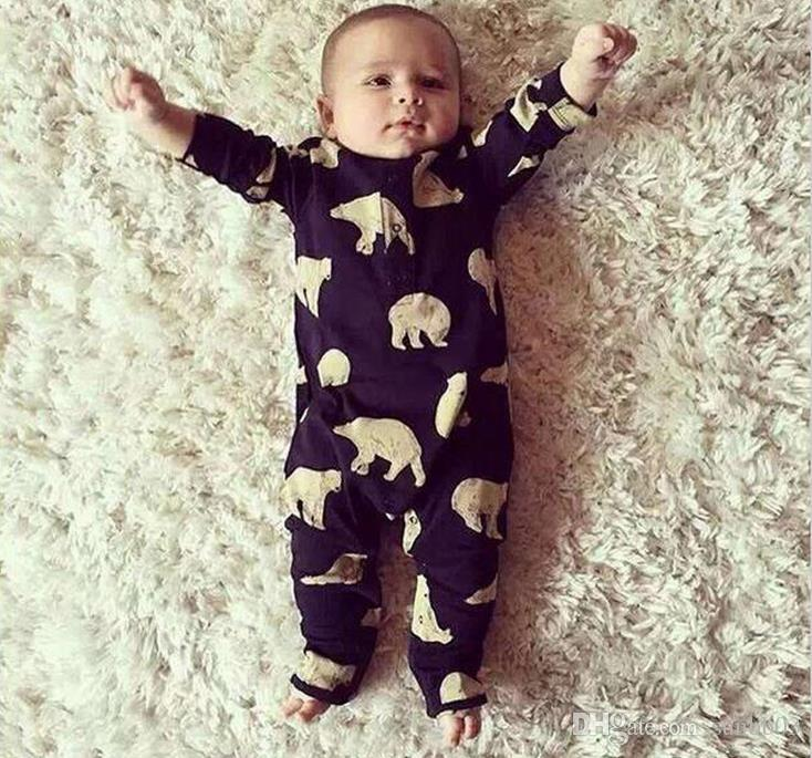 New Spring Ins Baby newborn Infant Rompers Polar Bear Printed Kids Cotton Overalls Jumpsuits Boys Girls Baby One-piece Romper Black