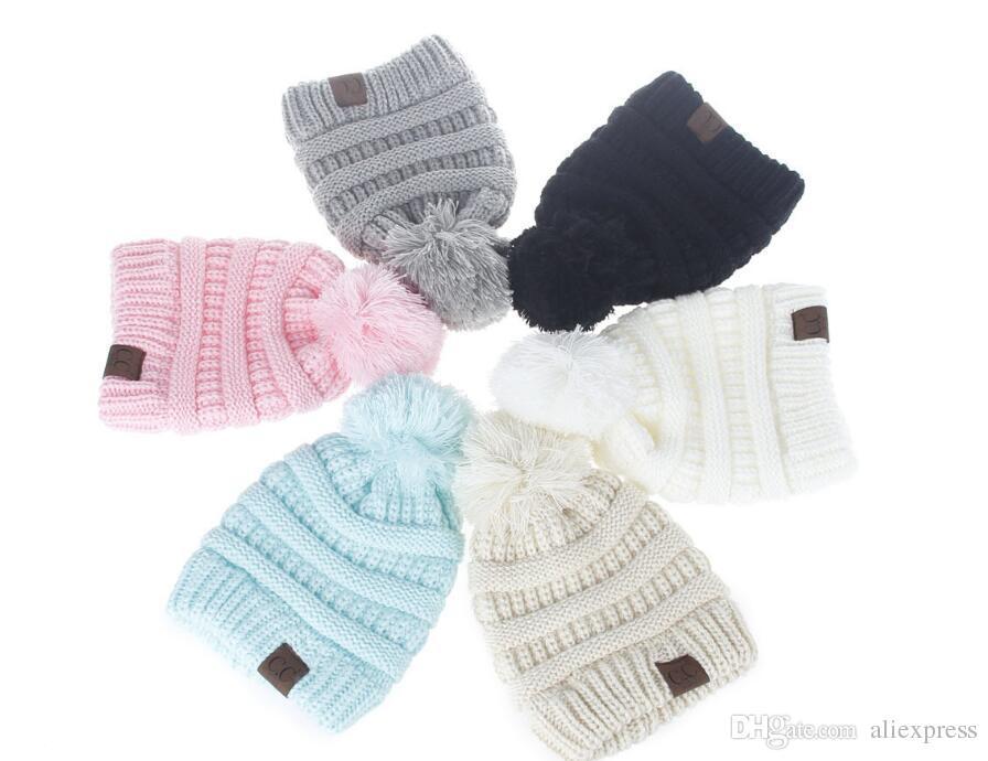 2017 Winter Kids Knit Hats Boys Girls Woolen Beanie Children CC Hats  Toddler Knitted Warm Caps Crochet Hat Knit Hats Online with  4.0 Piece on  Aliexpress s ... c644f6ef5ab8