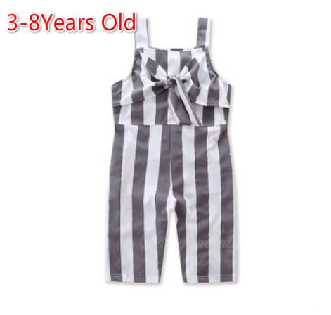 afb181b205f5 2019 Girls Overalls Jumpsuits Onesies Rompers Summer Kids Children Striped  Suspender Jumpsuits Overalls For Baby Belt Short Slip Pants Trousers From  ...