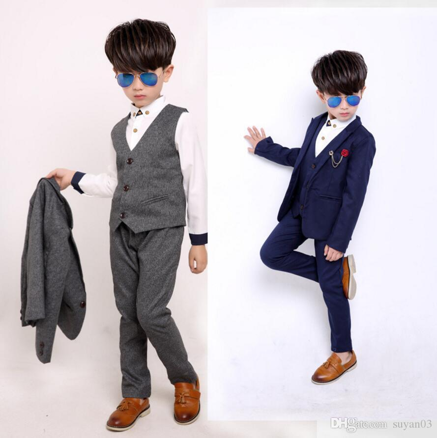 0d059393db7c9 New Boy s Wedding Formal Suits Solid Blazer+Vest+Pant Kids Gentleman  Clothing Sets Children Fashion Party Wear Boy s Formal Wear Kids Gentleman  Clothing ...
