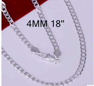 figaro chain jewelry Foreign trade fashion 925 Silver man men Necklace 18 Inch 4 mm Sideways necklace hot sale body necklace
