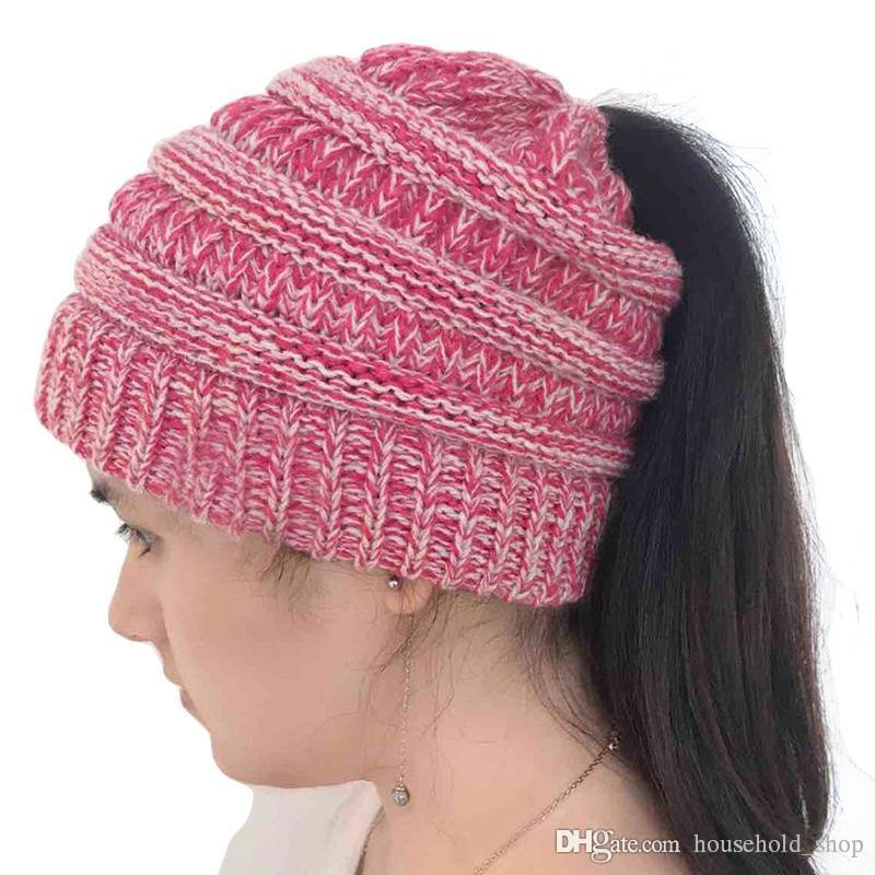 C And C Hats Ponytail Hole Winter Caps Trendy Beanie Keep Warm New Crochet Hat With Ponytail Hole Pattern