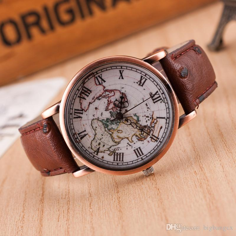 Vintage mens watch casual leather wrist watches world map rome vintage mens watch casual leather wrist watches world map rome numeral digital alloy dial antique quartz watch men clock bling watches cheapest watches gumiabroncs Image collections