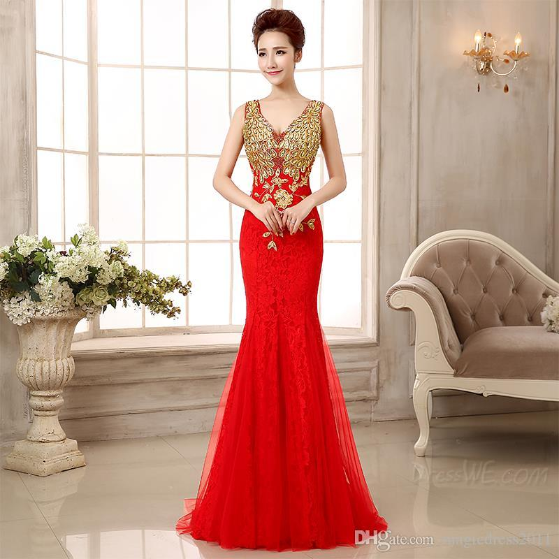 Chinese Style Beaded Formal Evening Gowns with Backless 2019 Mermaid V-Neck Appliques Pleated Prom Pageant Dresses for Party
