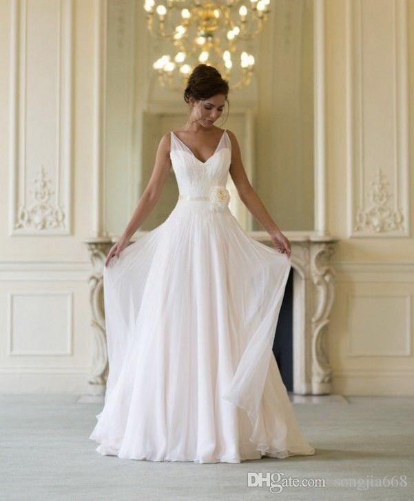 2020 Vestido de alta calidad vestidos de noiva Nueva línea A Tank Tank con cuello en V gasa vestido de novia vestido de novia