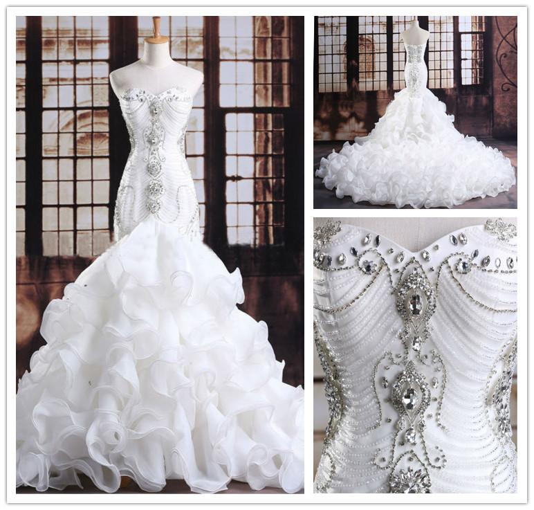 ... Fishtail Gowns Ld018 Inexpensive. Luxurious Long Tail Wedding Dress  Mermaid Crystals Beaded Bodice 2216f627a512