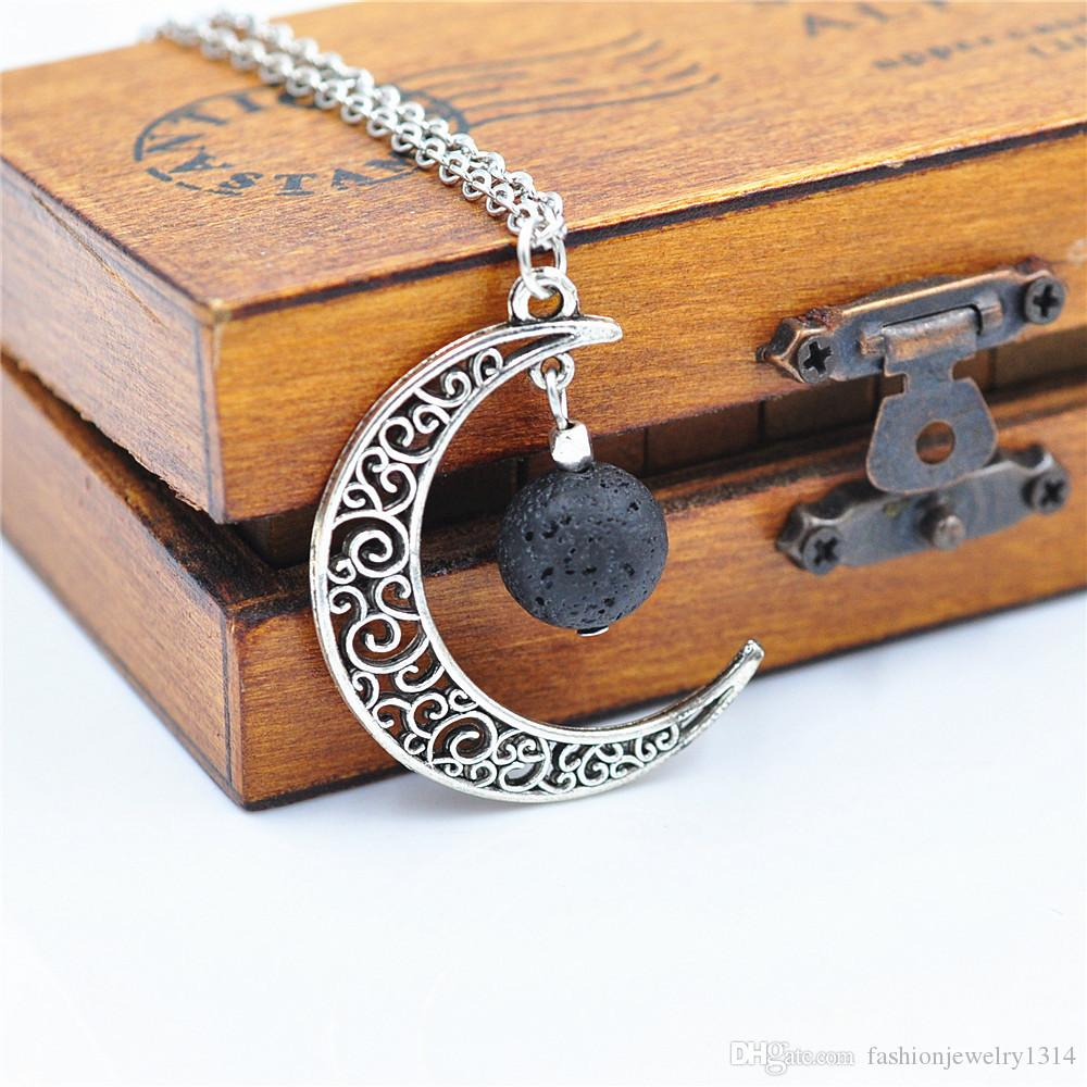 Customized Love you to the Moon and Back Necklace 14mm Black Lava Stone Moon Essential Oil Diffuser Necklace