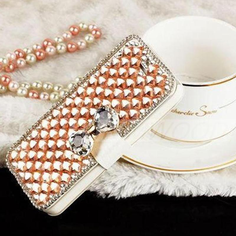 Iphone 6 plus 5 Samsung Galaxy S6 Nota 5 Luxury Fashion Diamond Cell Phone Cover con supporto di carta di credito Bling Pearl