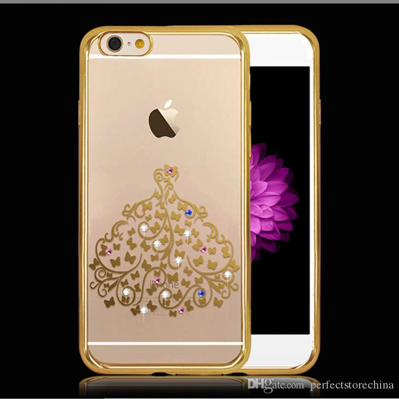 rose gold plating frame clear tpu case for iphone 6 6s plus soft back skin cover rose gold wihte. Black Bedroom Furniture Sets. Home Design Ideas