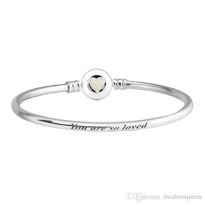 e7063abd44f Logo Bangle Bracelets Loving Heart Clasp Silver Fits for Pandora Style  Charms H8 590746EN23 Pandora Authentic Bracelets Pandora Bangles Authentic  Pandora ...