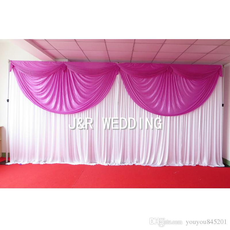 MOQ 3m*6m Ice Silk Fabric High Quality White Backdrop & Colorful Swag Drape Curtain For Wedding Use