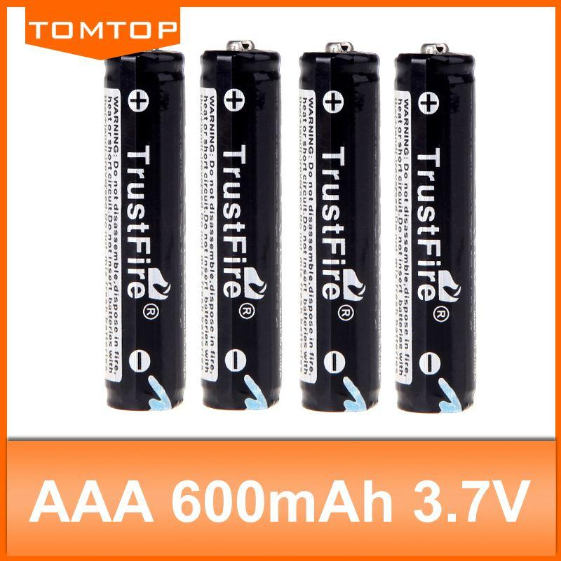 free shipping TrustFire TR 10440 600mAh 3 7V Li-ion Rechargeable Battery  with Proteced PCB (2 pair)
