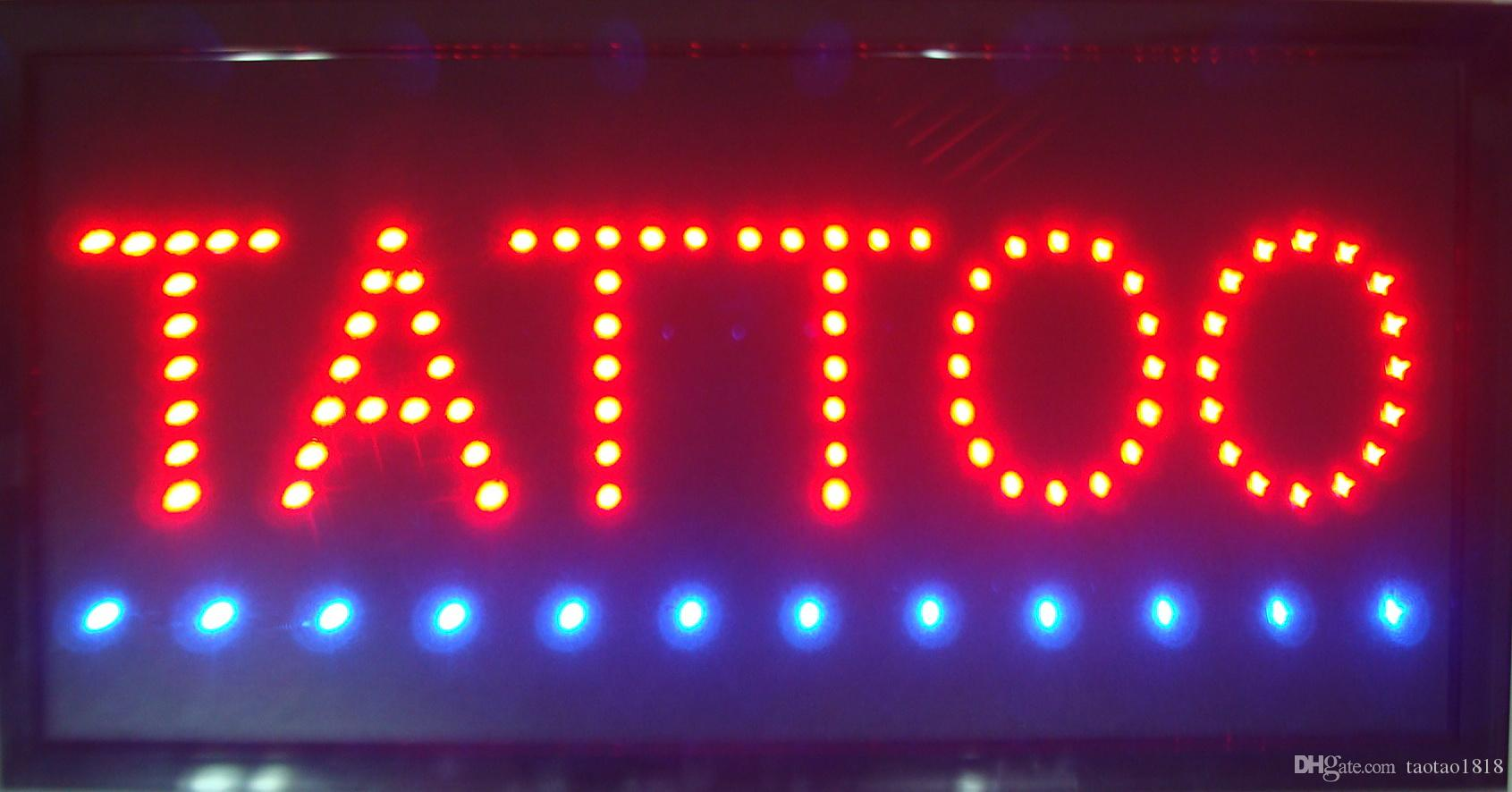 Hot sale custom neon signs led TATTOO sign for the TATTOO shop open Plastic  PVC frame Display size 19cm*10cm