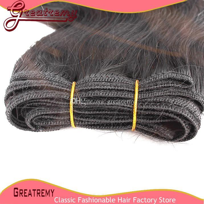 Greatremy® 100% brasilianska hårväftförlängningar # 1b Kroppsvåg Mänskliga Virgin Hair Weave Wavy / Färgade hårbuntar