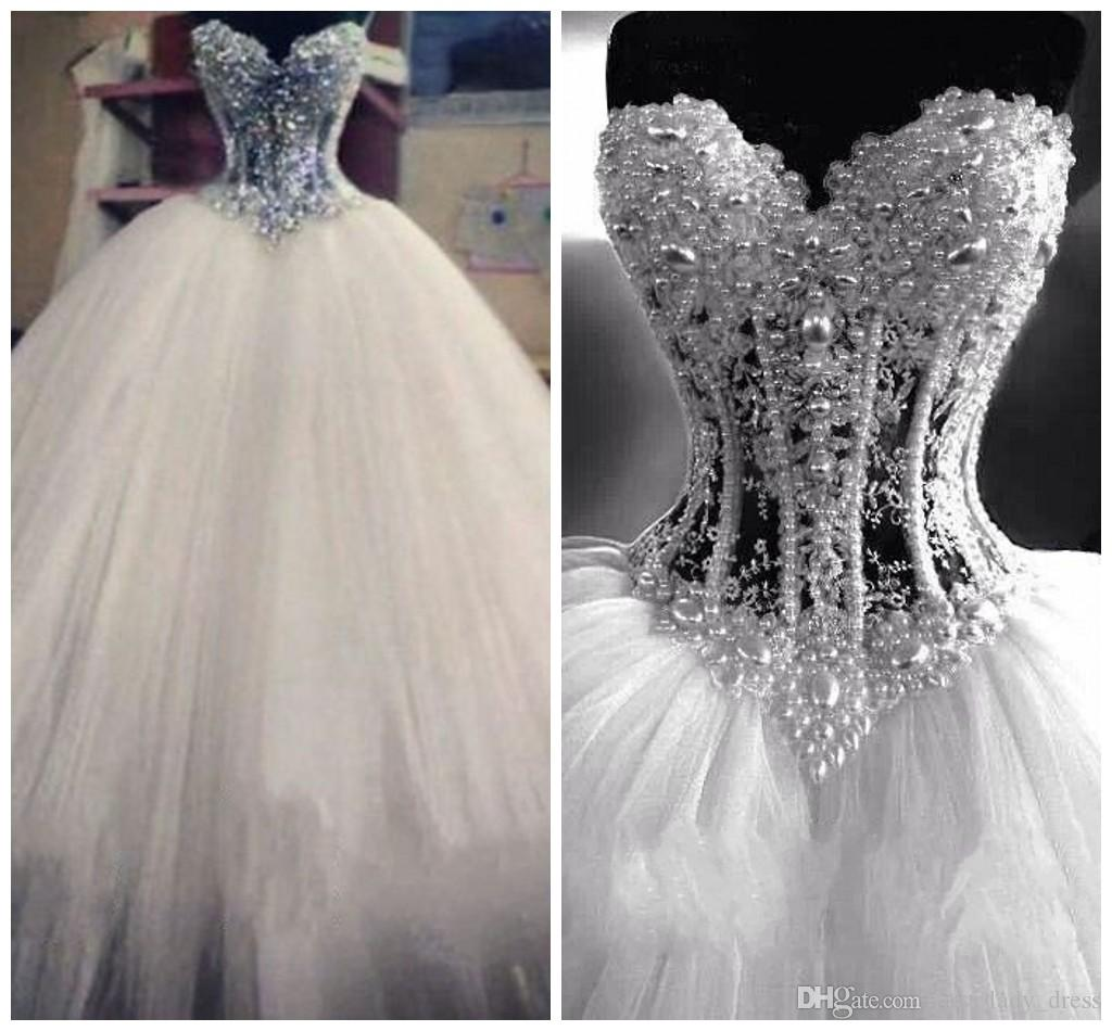 Luxurious Bling Vestido De Noiva Corset Bodice Sheer Ball Gown Wedding Dresses Beads Rhinestones Tulle Crystal Pearl Bridal Dress Gowns