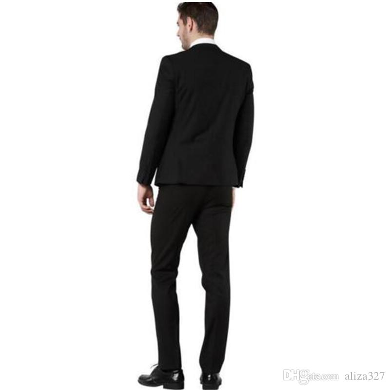 Tailored Men's Slim Fit Dress Suits Prom Party Wedding Suit Set Black coat + trousers + vest