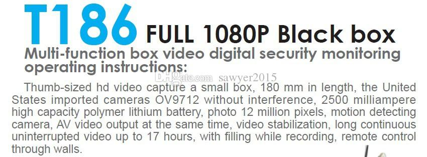T186 Full HD 1080P Module pinhole cameras with remote control button camera DVR Home security CCTV Camcorders