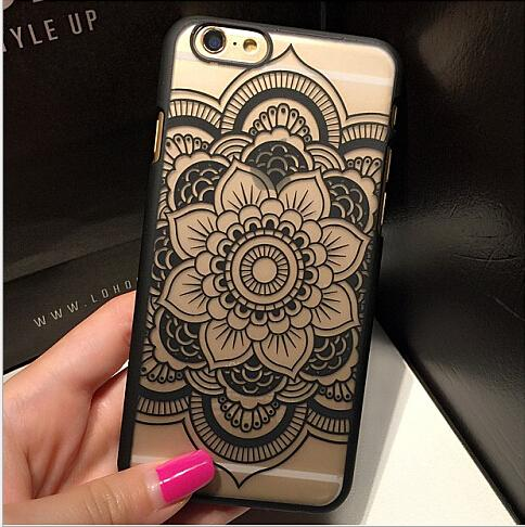 Clear Matte Hard Plastic Henna White Floral Paisley Flower