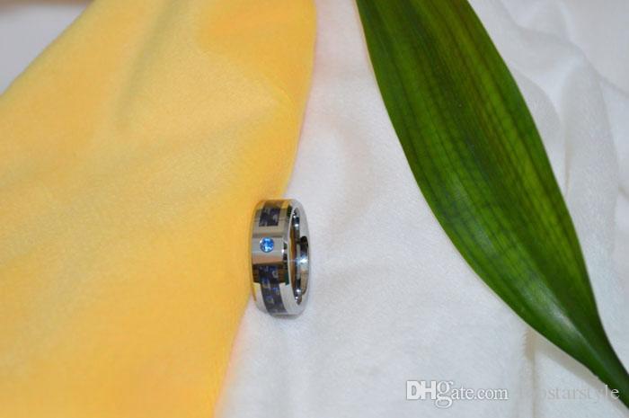 8мм Модные ювелирные изделия Кольцо из карбида вольфрама Кольцо из синего и черного углеродного волокна с CZ набором для мужчин и женщин TUR-007