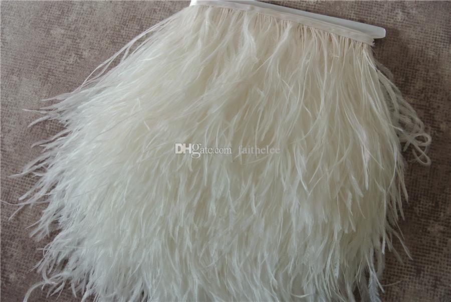 Бесплатная доставка 10 ярдыбелый из страусиных перьев обрезки бахрома на атласной заголовок 5