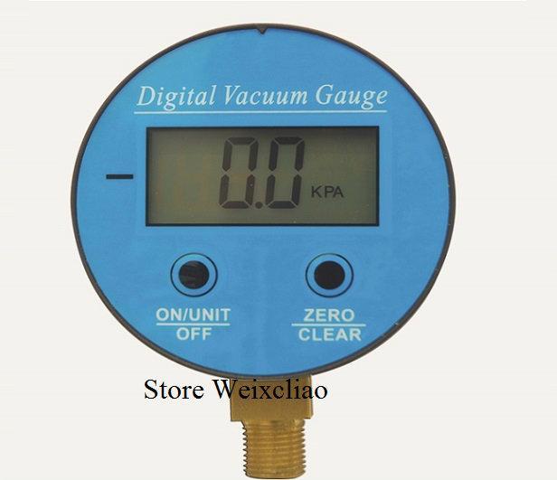 Digital Vacuum Gauge Pressure Gauge Battery Powered Digital LCD Display Manometer G1/4 -100KPa-0