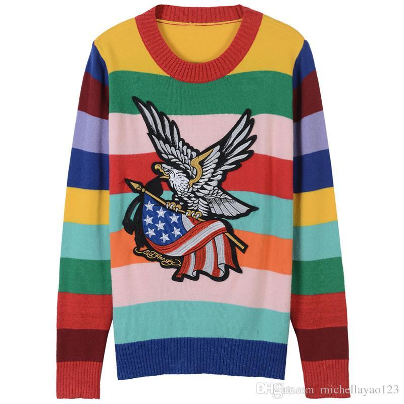 2018 de gama alta Rainbow Eagle bordado Pullover mujeres marca igual estilo tejer mujeres suéteres estilo de pista suéteres 110103