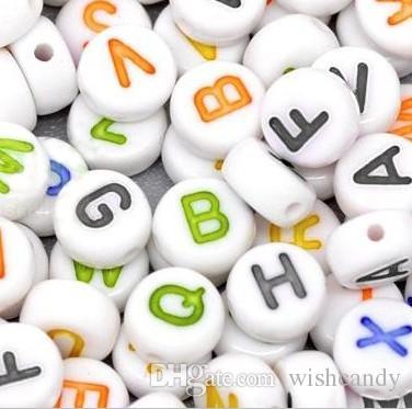 16 stili / lotto telaio alfabeto Perline acriliche fascini Bands bracciale in gomma silicone fai da te Ricariche Cube Beads Lettera Pendenti Accessori