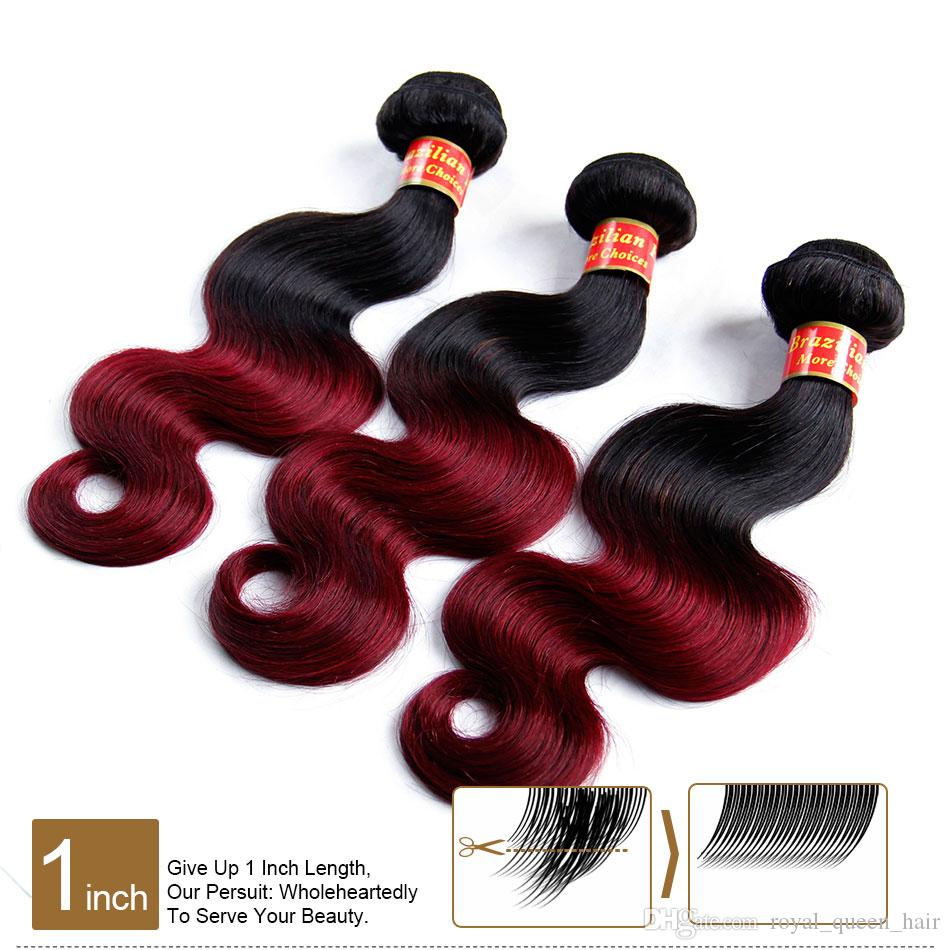 Ombre Brazilian Body Wave Virgin Human Hair Extensions 2 Two Tone 1B/99J Black Burgundy Red Grade 8A Ombre Brazilian Hair Weave Bundles