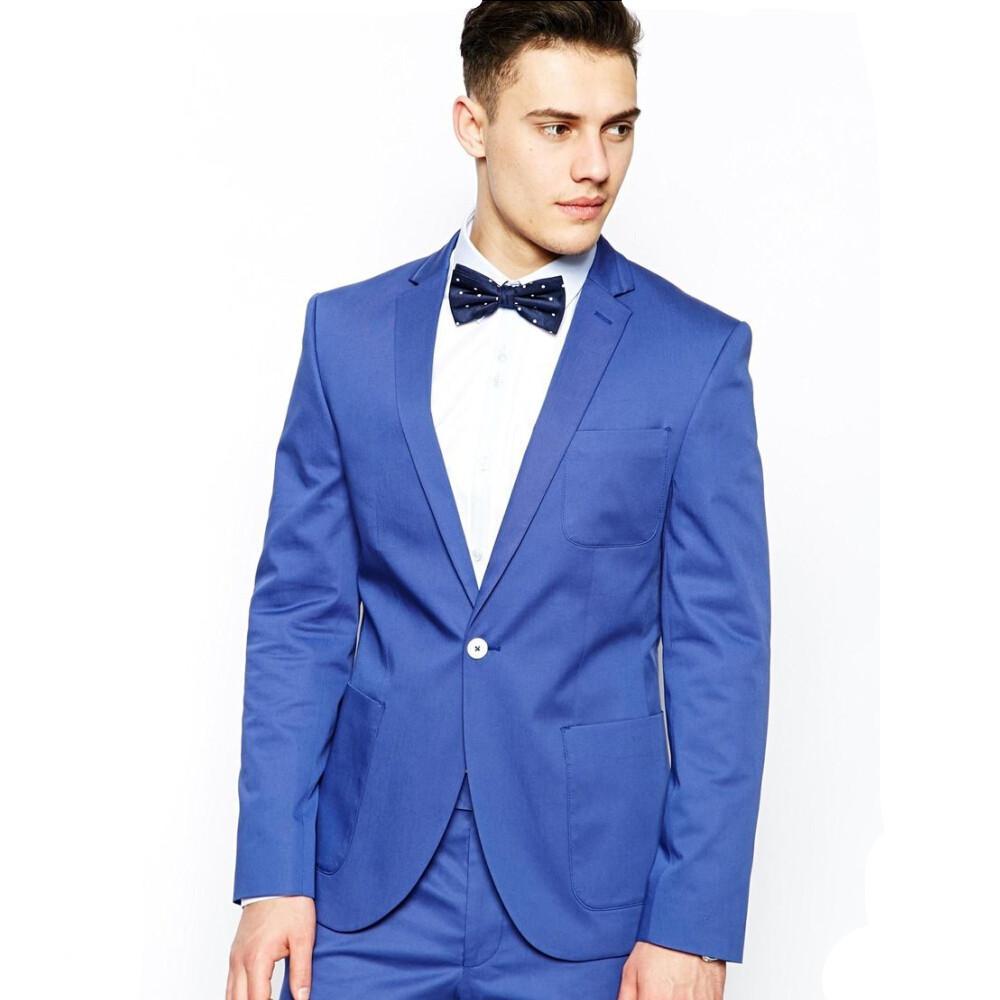 New Style Handsome Groom Tuxedos Notch Lapel Best Men Suit Blue ...