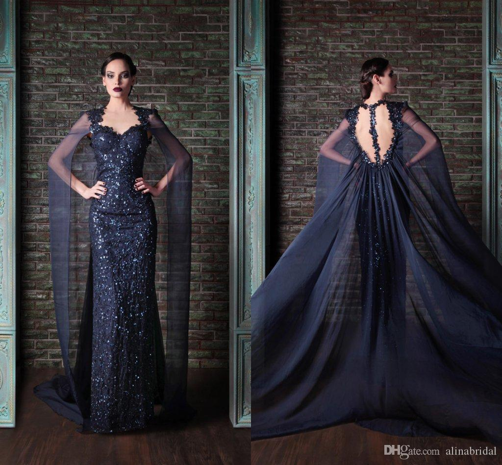 2015 Rami Kadi sirena vestido de noche árabe de Dubai Para Saudi Arabian vestidos de baile Armada largo azul con lentejuelas barato sin respaldo vestidos del partido formal