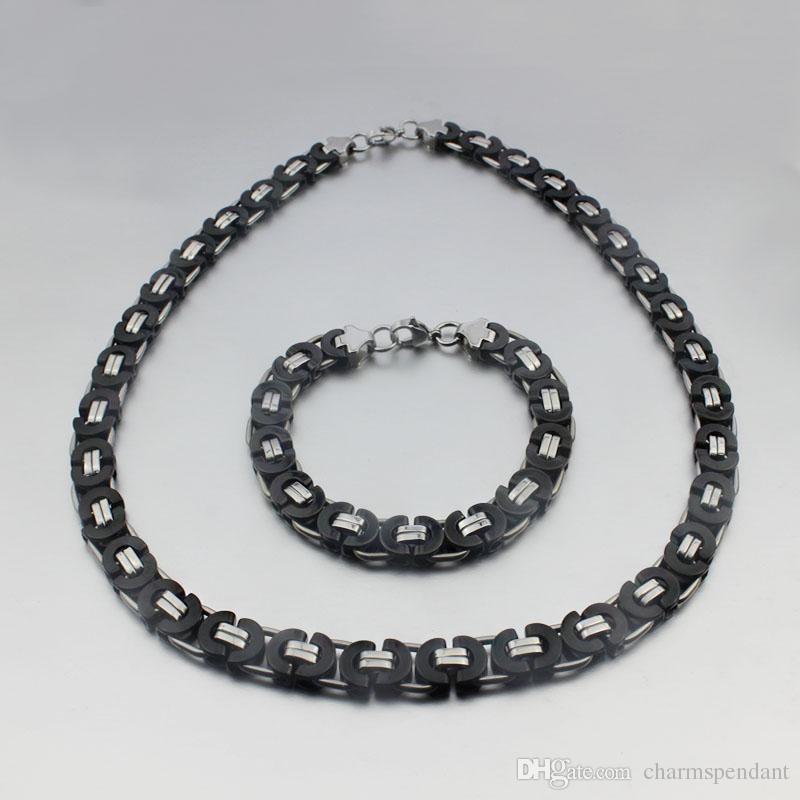 أفضل جودة مجموعة مجوهرات 8MM الأسود الفضة شقة البيزنطية سلسلة قلادة سوار 316L الفولاذ المقاوم للصدأ للزوج / الأب هدية مجوهرات