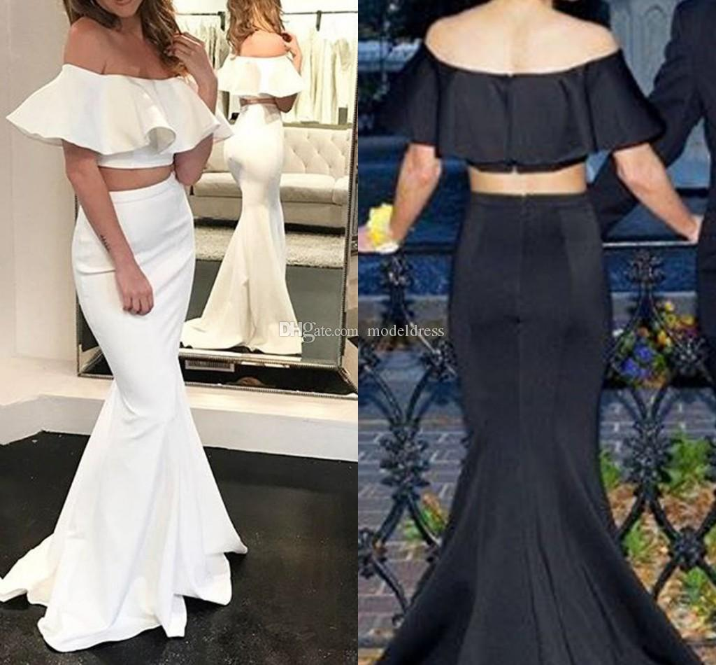 050eaafd66c2 New Design Two Pieces Prom Dresses 2018 Off Shoulder Mermaid Floor Length  Satin Sexy White Black Evening Gowns Special Occasion Dress Cheap Short  Purple ...