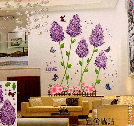 Lavender Wall Art new 3d romantic lavender wall stickers butterfly wall painting pvc