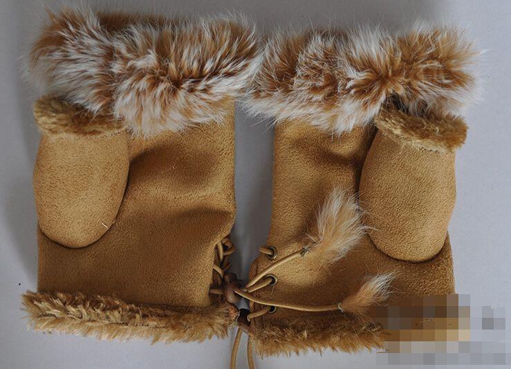 Guanti di pelliccia di coniglio, Guanti senza dita invernali da donna, guanto da polso a mano, guanti a mezza delle fingers