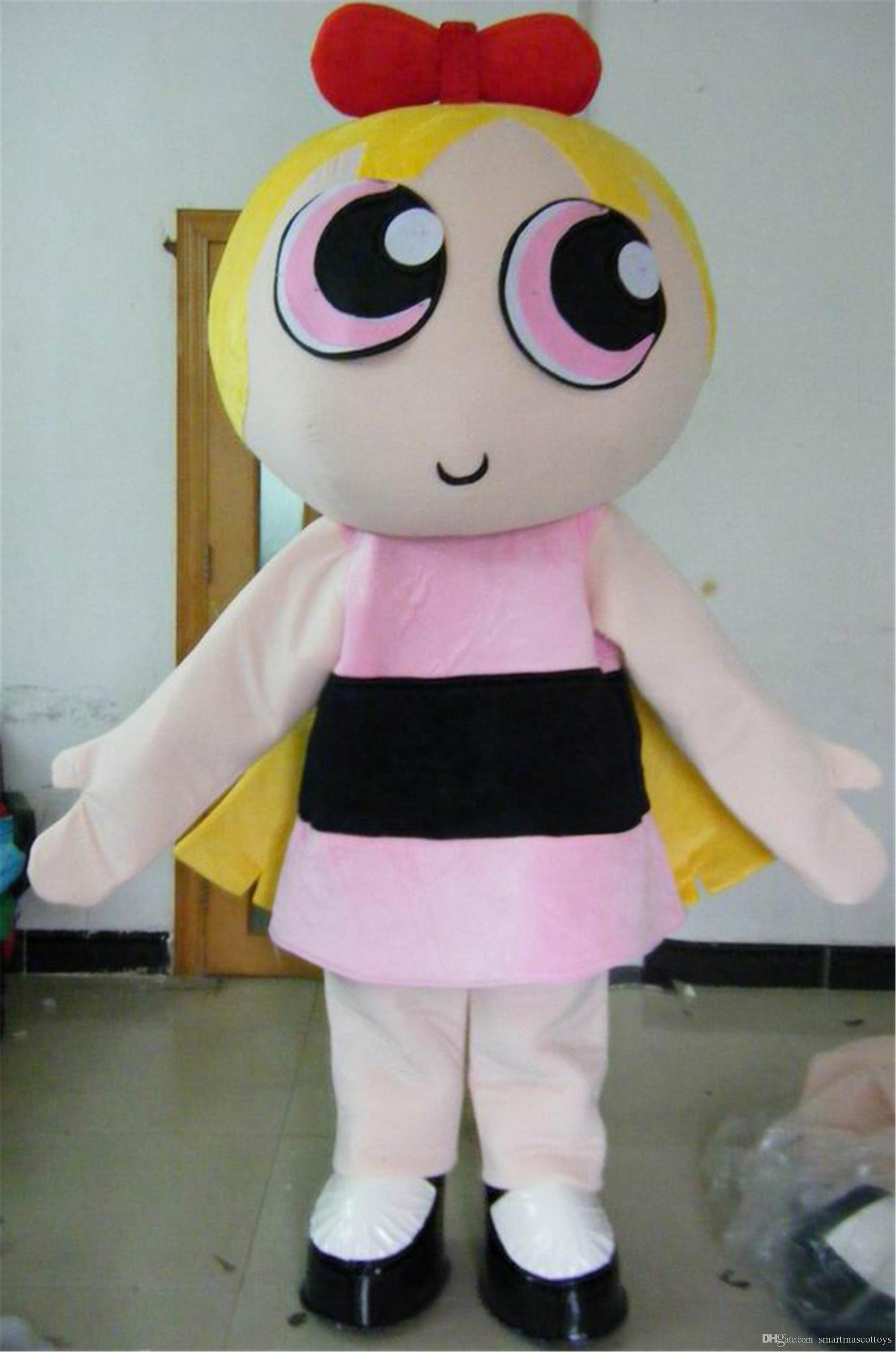 Cute Adult The Yellow Powerpuff Girls Mascot Costume For Adult To
