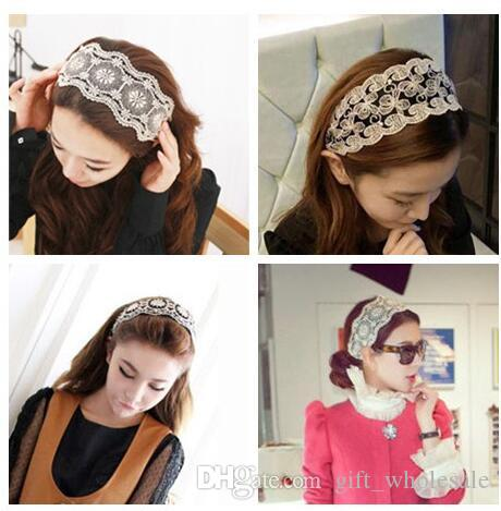 Wholesale Classic Wide White Lace Elastic Hairband Embroidery Kniting Women Fashion Headband Hair Accessories