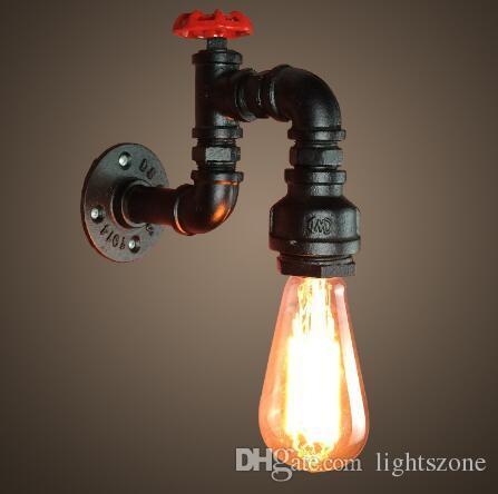 Großhandel Retro Wasserhahn Vintage Wandleuchten Eisen Rohr Lampe ...