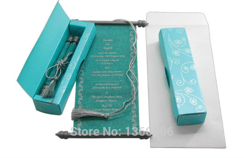 scroll wedding invitations card wholesale party wedding india blue luxury royal wedding invitations with box