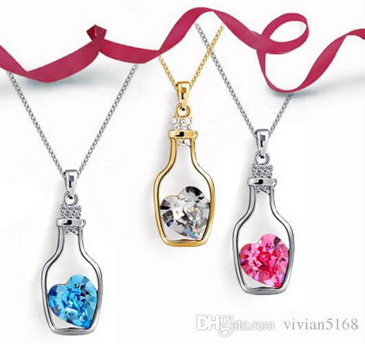 Womens Love wishing bottles Pendant Necklaces Alloy Crystal Fashion Austria Drill Popular Jewelry Necklace Angel Tears Jewelry