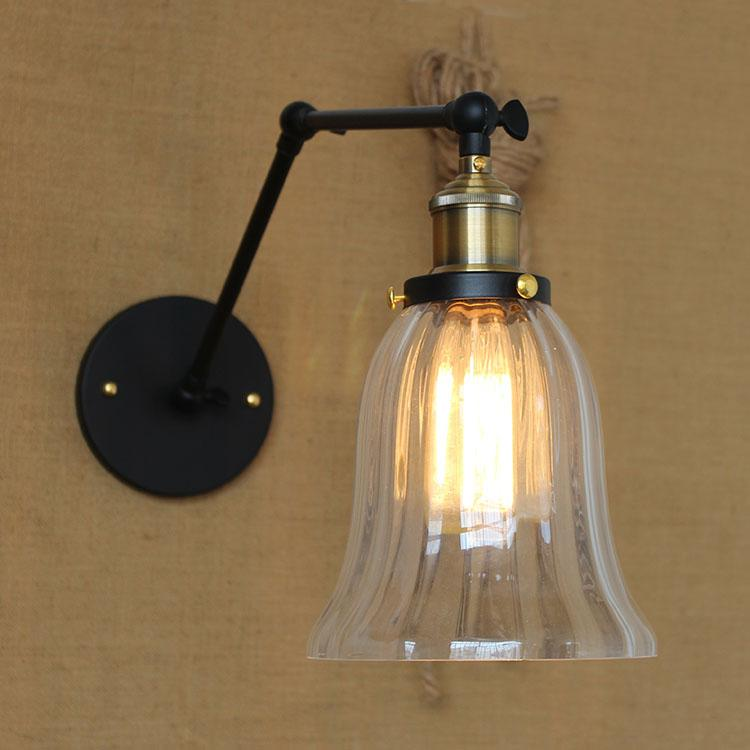 Vintage Iustre Led Wall Lamp with Sall Glass Shade Downled Wall Light for Home Bathroom Bedroom