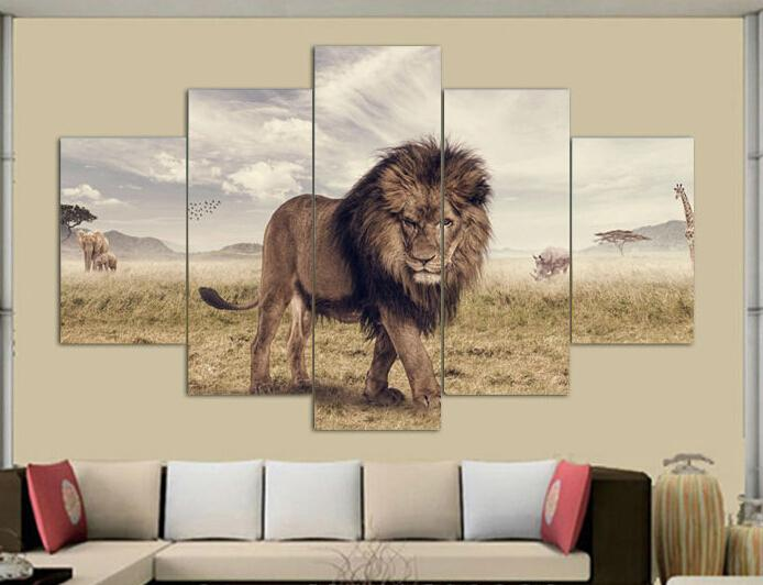 Framed art Printed Animals Lion Group Painting children's room decor print poster picture canvas F/373