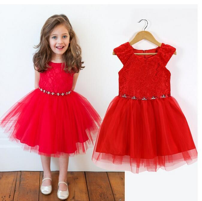 Retail New Wedding Party Flower Girl Dress Bright Christmas Red Sleeveless Gift Children Clothes Hot Sale Girls Dresses Summer