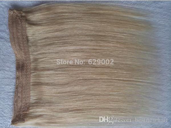Indian Human Hair No Clips Halo Flip in Hair Extensions, 100G Color #613 Easy Fish Line Hair Weaving