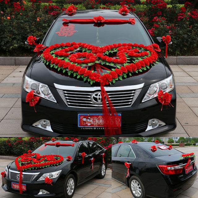 Altar Wedding Cars Manchester: New Style Luxury Wedding Car Decoration Set Heart Love
